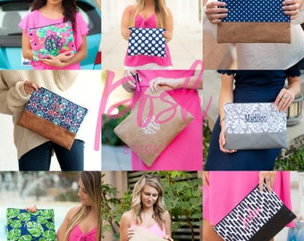 Monogrammed Clutch, Monogrammed Gifts, Monogrammed Bridesmaid Gifts, Makeup Bag, Cosmetic Pouch, Toiletry Bag, Women's makeup bag
