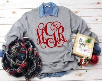Sale! Monogram Sweatshirt, Crewneck Sweatshirt, Monogrammed Sweater, Personalized Gifts for Her, Gifts Under 20
