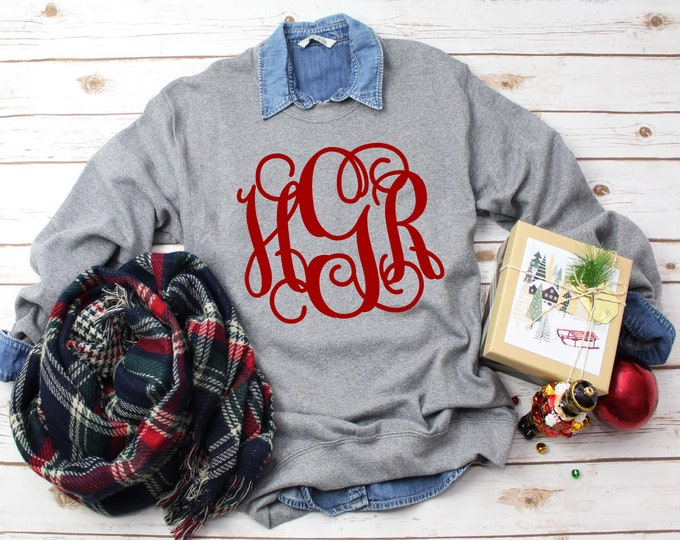 Sale! Monogram Sweatshirt, Crewneck Sweatshirt, Monogrammed Sweater, Personalized Gifts for Her, Gifts Under 20