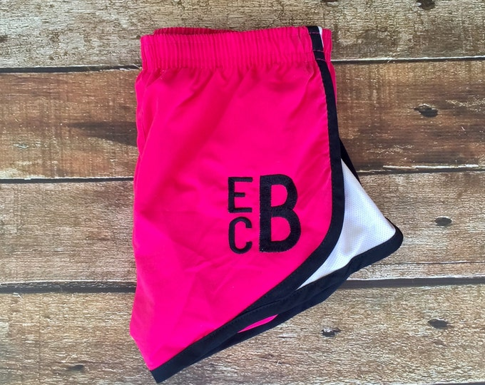 Monogrammed Running Shorts, Monogrammed Shorts, Cheer Shorts Personalized Athletic shorts