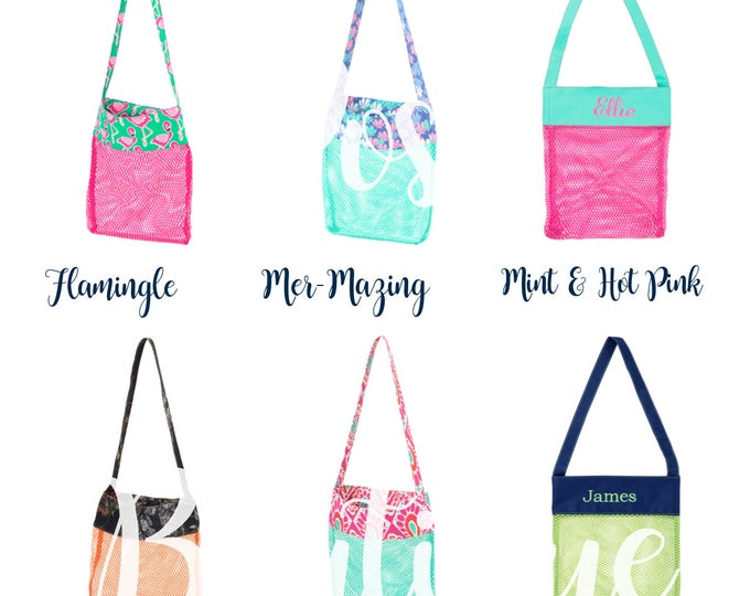 Monogrammed Shell Tote Bag, Personalized Shell Tote,  Monogram Beach Combing Tote, Girls and Boys Shell Totes, Shell Collection Bag