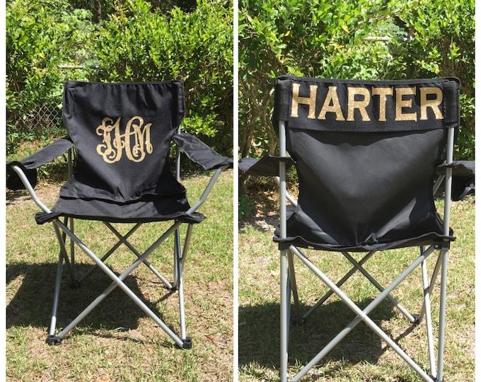Monogrammed Camp Chair, Beach chair, Personalized Folding Chair, Sports Mom Chair, Coach's chair