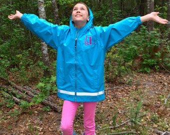 Girls Monogram Rain Jacket - Charles River Rain Jacket - Monogrammed gifts - Girls Rain Jacket - Rain Coat - Rain Jacket
