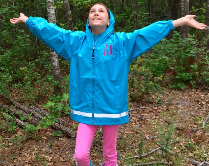 Girls Monogram Rain Jacket - Charles River Rain Jacket - Monogrammed gifts - Girls Rain Jacket - Rain Coat - Rain Jacket