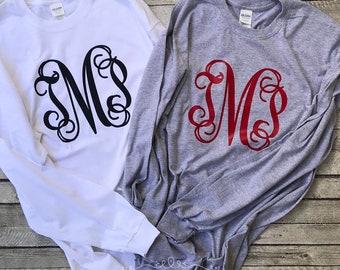 Monogramed Tee Shirt - Monogram Long Sleeve Shirt - Monogram Shirts for Women and Girls