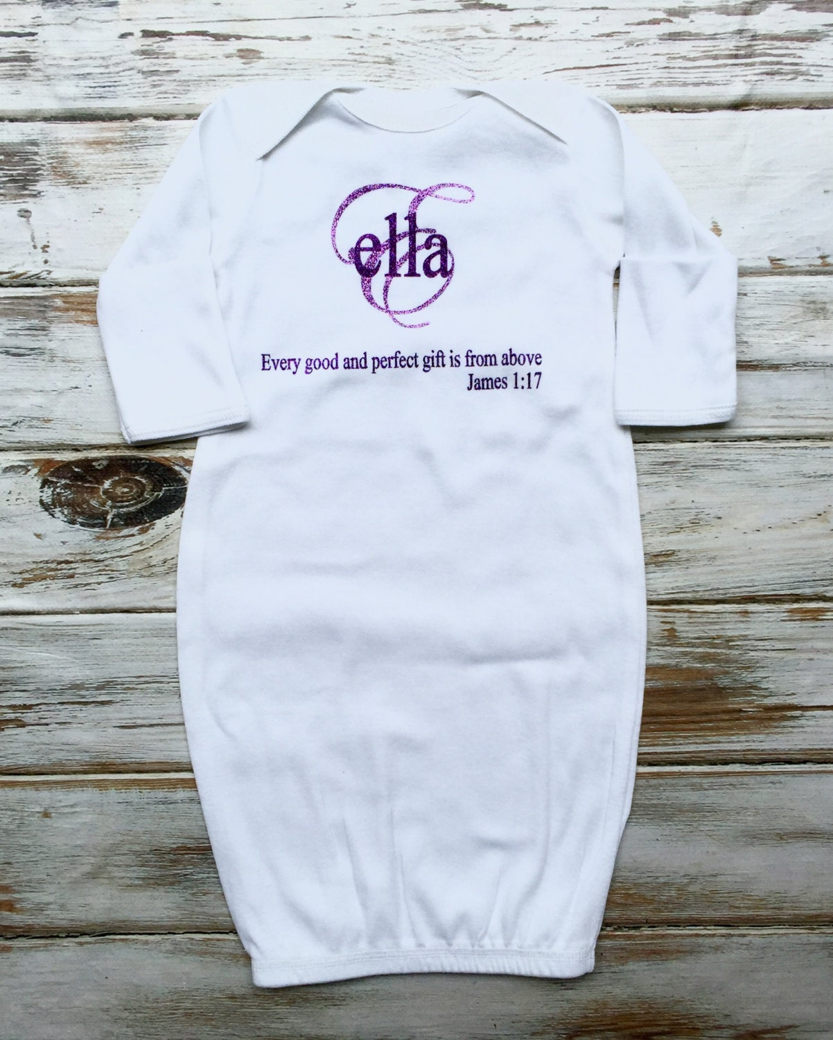 Baby gown with name, Monogram Baby gown, James 1:17 Baby Gown ...