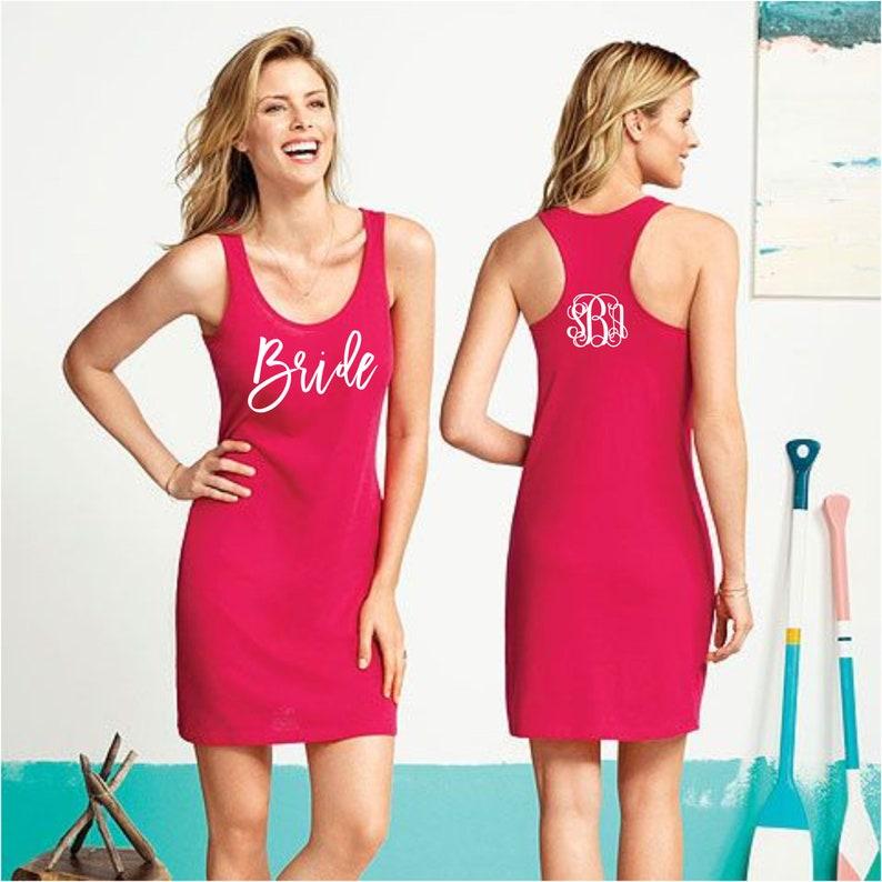 f8a094c6af97a Monogram Swimsuit Coverup Bridal Party Monogram Tank Dress | Etsy