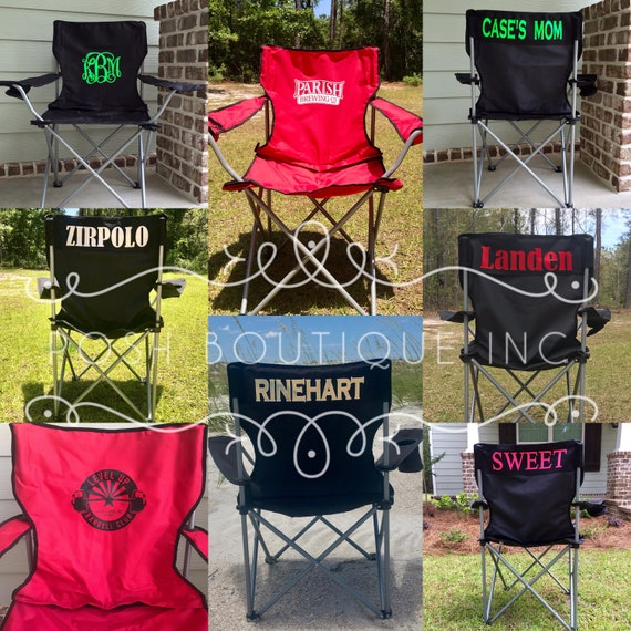 Magnificent Monogrammed Camp Chair Custom Folding Chair Bag Chair Personalized Folding Chair Game Day Chair Tailgate Chair Camping Chairs Uwap Interior Chair Design Uwaporg