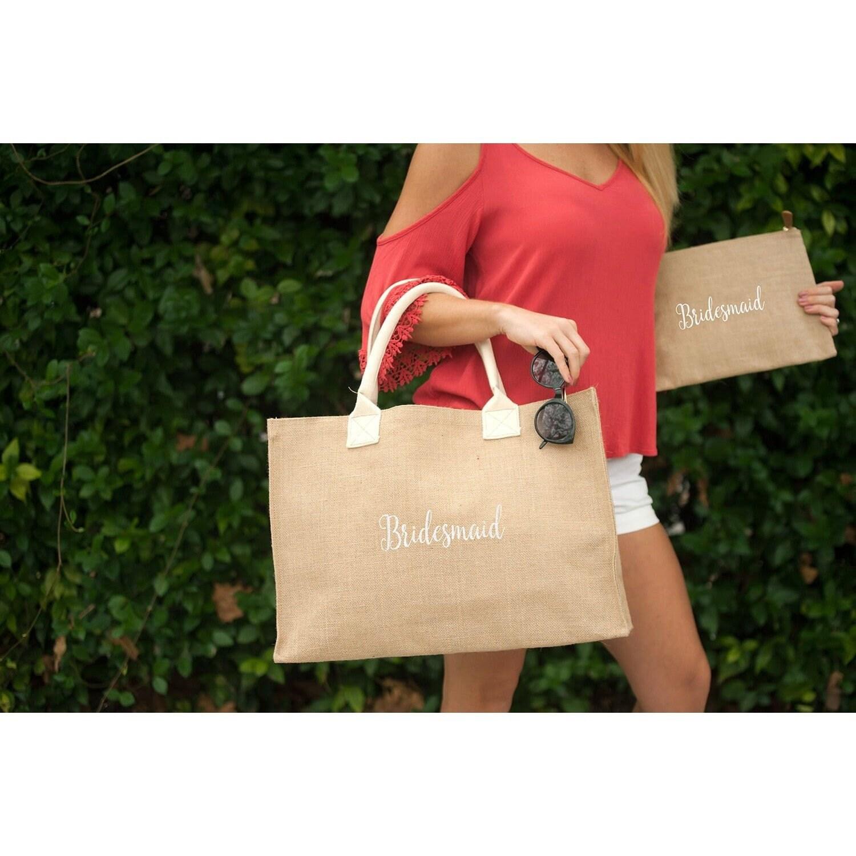 32645e563150 Monogrammed Burlap Clutch, Burlap Cosmetic Bag, Monogrammed ...
