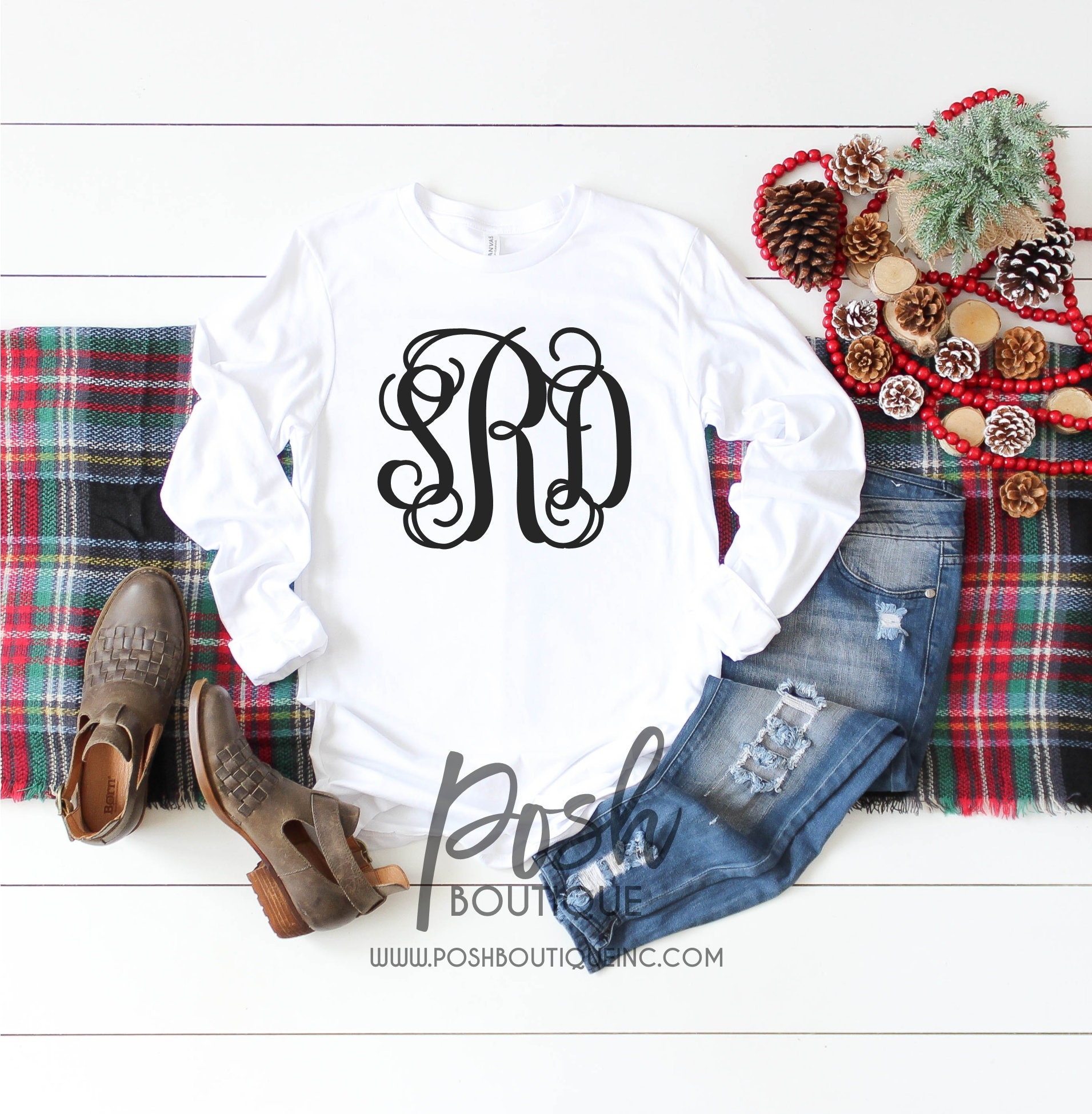 5631ce58bfb9 Long Sleeve Monogram Shirt, Monogram Tee Shirts for Girls and Women, Gift  for Her, Gift under 20. gallery photo ...