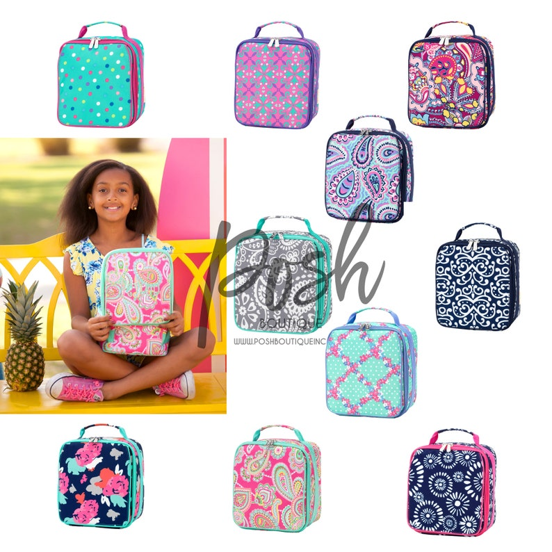 Monogrammed Lunch Box Back To School Lunch Bag Girls Lunch Box Boys Lunch Box Kids Lunch Box Preppy Lunch Box Monogram Lunchbox