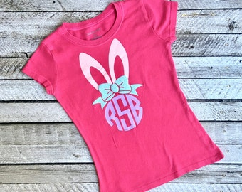 Easter shirt, Monogrammed Easter Shirt, Girls Easter Shirt, Monogrammed Shirts for Easter, Easter Bunny Monogram Shirt