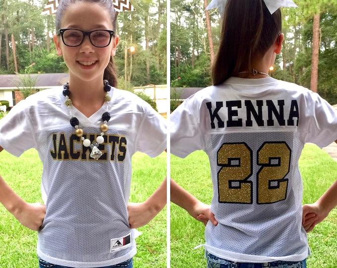 Custom Girls Football Jersey, Game Day Jersey, Football Bachelorette, Cheerleader Jersey, Team Spirit Shirt, Powderpuff Game Jersey
