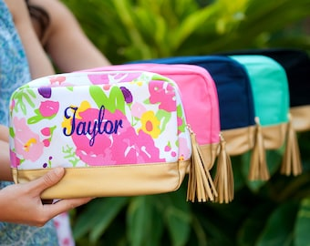 Cabana Cosmetic Bag, Monogrammed Cosmetic Bag, Women's Makeup Bag, Cabana Collection, Bridesmaid Gifts, Gifts for Her, Group Discounts