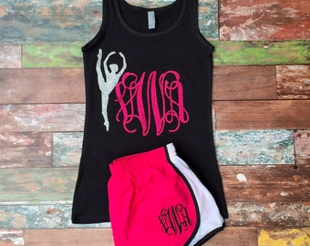 Monogrammed Tank top and Running Shorts, Group Orders Welcome, Personalized dancewear, Ballerina, Twirler, Gymnast