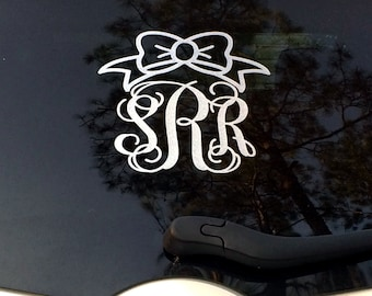 Glitter Monogram Car Decal Custom Name Car Decal 9 inch Monogram Vinyl Car Decal Silver Glitter Custom Monogrammed Gifts