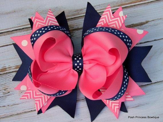 "Hair bow Stunning Large 5.5"" Hot Pink Princess"