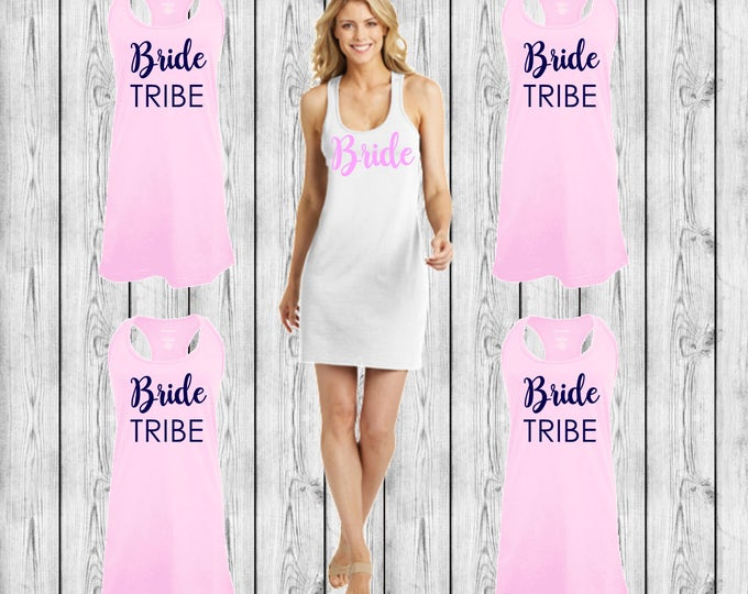 Bride Swimsuit Coverup, Bridesmaid Swim Cover Ups, Monogrammed Beach Coverup, Tank dress, Bridesmaid Gifts, Cruise, Wedding, Bachelorette