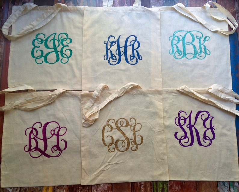 Bridesmaid Gift Bags Canvas Tote Bag Custom Tote Bag Wedding Favors GROUP DISCOUNTS Personalized Gift Bags Monogram Tote Bag