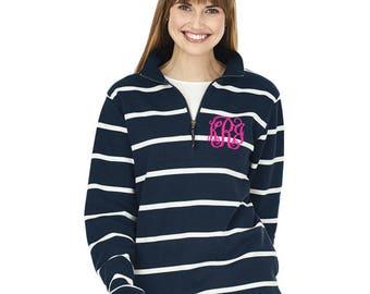 Monogrammed Quarter Zip Sweatshirt, Monogram Quarter Zip Pullover, Charles River Crosswind Sweatshirt, Preppy monogrammed pullover