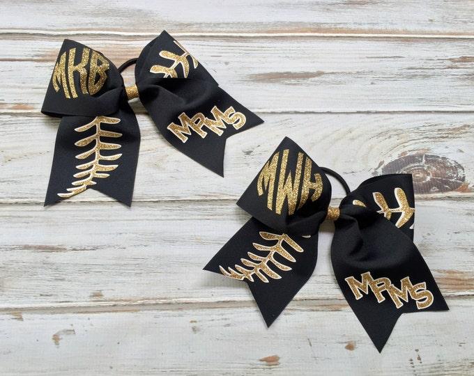 Cheer Bows, Hair Bows, Monogrammed Softball Team Cheer Bows, Softball Bows, Team Discounts, Monogram, Baseball Stitches, Team Hair Bow