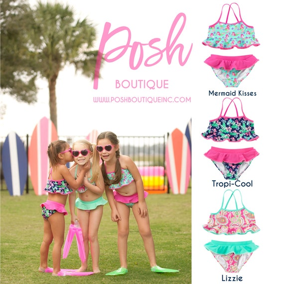 904e0e3982a Girls Monogram Swimsuit Toddler Swimsuit Set Girls
