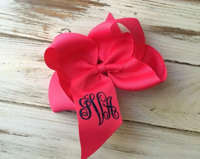 Monogram Hair Bow, Monogrammed Hair Bows, Monogrammed gifts, Girls Hair Bows, Boutique Hair Bow