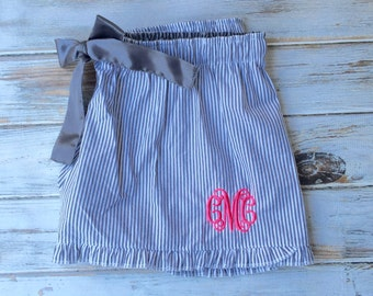 Monogram Seersucker Shorts, Ruffle Seersucker Monogram Shorts, Seersucker Shorts, Monogrammed shorts, Monogrammed gifts, Bridesmaid Gifts