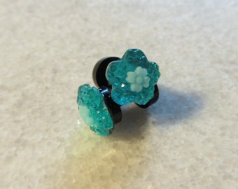 Turqoise Flower Plugs Small Sizes Acrylic Threaded Tunnel Handmade Gauges 2mm 12g 3mm 8g  4mm 6g