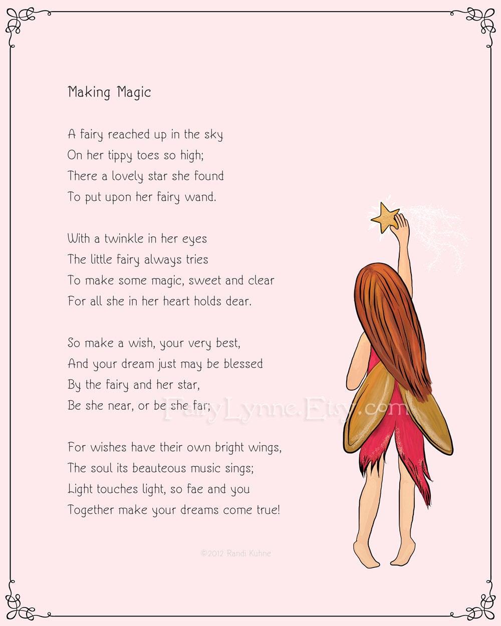 Original Fairy Poem Making Magic 8x10 Instant Download Etsy