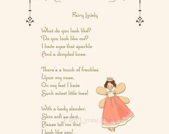 Original Fairy Poem, Instant Download, Image File, Printable Party Favor, DIY, Last Minute Gift