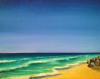 Ocean Shore with Limpid Sky and Rocks - Oil on Canvas Panel - 5 x 7 inches
