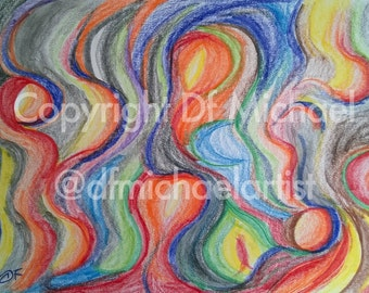 Abstract #5 - Colored Pencils on Vellum Bristol Acid Free Paper 270g/m2 - 9 x 12 inches