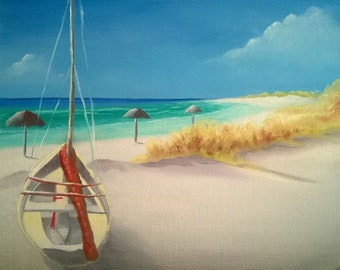 Lonely Boat on The Beach - Oil on Canvas Panel - 8 x 10 inches