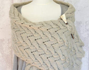 Knitting PATTERN Chevron Cable Lace  Shawl Easy Knitting Pattern Chunky Wrap digital delivery instant download