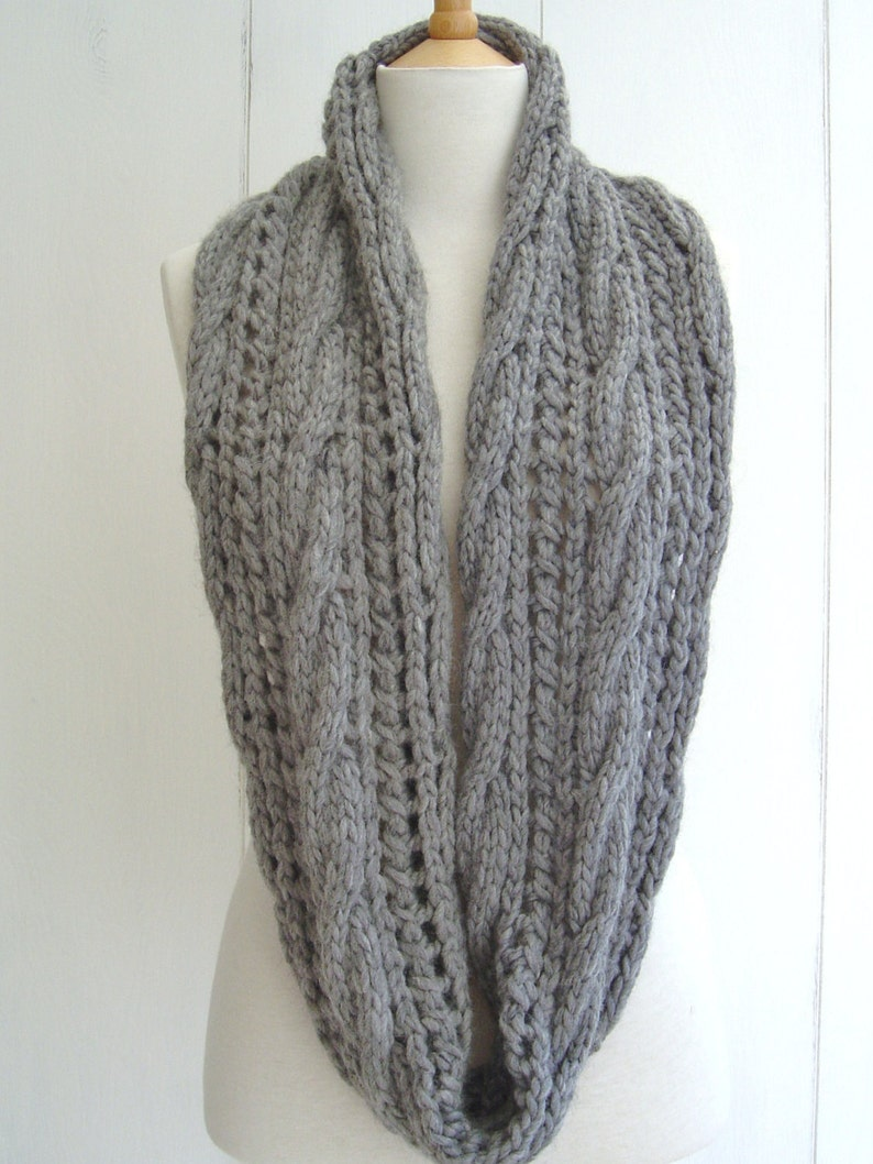 Knitting Pattern Infinity Scarf With Cable Lace Easy Beginner Etsy