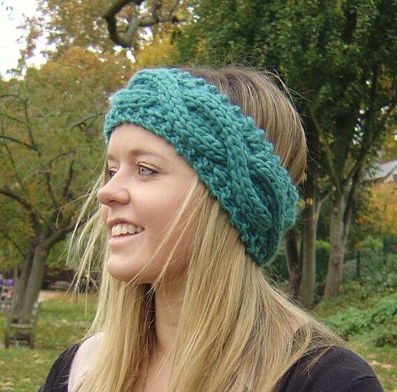 KNITTING PATTERN Chunky Headband Ear Warmer with Cable Rope | Etsy