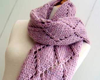Knitting Pattern for Chunky scarf, Easy Knit Diamond Lattice Scarf, improving beginners scarf Pattern, PDF Instant Digital Download