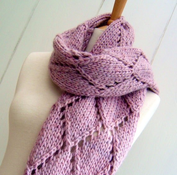 Knitting Pattern For Chunky Scarf Easy Knit Diamond Lattice Etsy