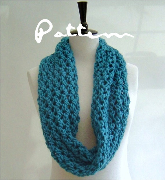 Knitting Pattern Infinity Scarf Quick And Easy Knitting Etsy