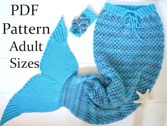 Knitting Pattern Mermaid Tail Blanket Adults Sizes Mermaid Etsy
