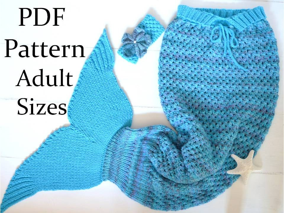 Knitting Pattern Mermaid Tail Blanket For Adults 4 Sizes Etsy