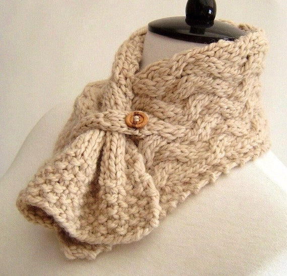 Knitting Pattern Scarf Easy Cable Neckwarmer Knit Pdf Digital Etsy