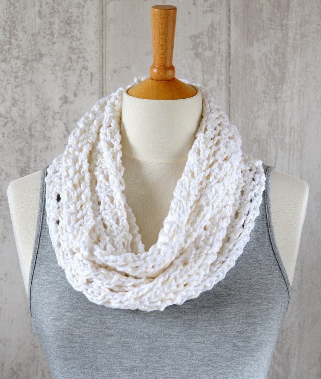 KNITTING PATTERN Lace Scarf Simple Knit Pattern Infinity Scarf ...