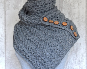 Scarf KNITTING PATTERN Kinsale Wrap Pattern, Kntting pattern for Scarf with Buttons PDF Instant Download Cozy Scarf Pattern