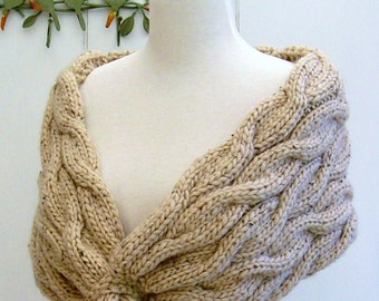 Knitting PATTERN Wrap Shawl with Sandripple Cables Super Bulky Chunky Yarn Simple Pattern Improving Beginner Instant Download Digital PDF