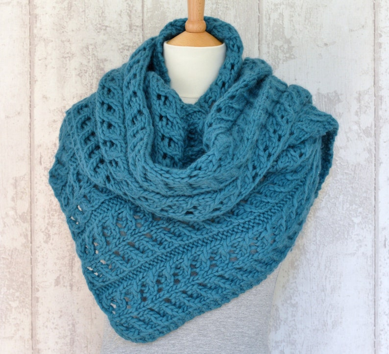 Easy Scarf Knitting Pattern Shawl Wrap Improving Beginner Etsy