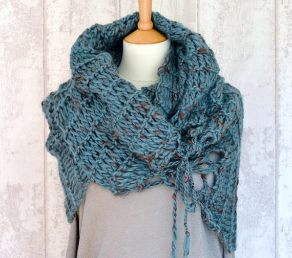 Knitting Pattern Very Easy Beginner Scarf Wrap Poncho 3 Way Etsy