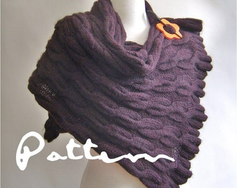 KNITTING PATTERN Shawl Wrap with Cables and Ruffle edges PDF Digital Delivery