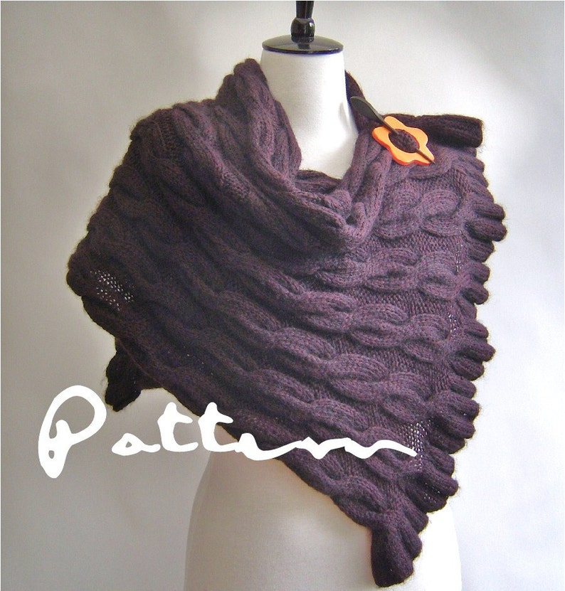 Knitting Pattern Shawl Wrap With Cables And Ruffle Edges Pdf Etsy